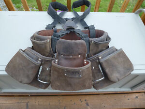 Leather tool belt w/pouches and shoulder straps