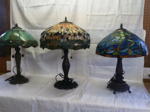 2 Tiffany style stained glass lamps