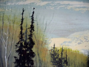 Winter Abstract, by Listed Artist Margrit Gatterbauer 1960's Stratford Kitchener Area image 3