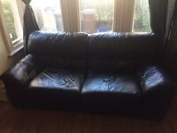 Two piece black leather sofa FOR SALE!