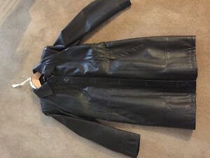 Green leather car length lined coat