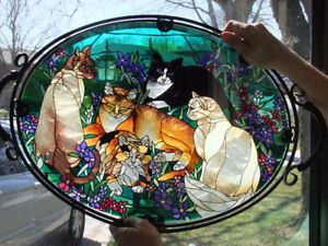 Serving tray, stained glass, cat motif