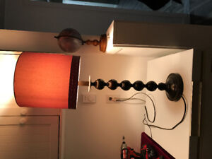 Brown and beige table lamp