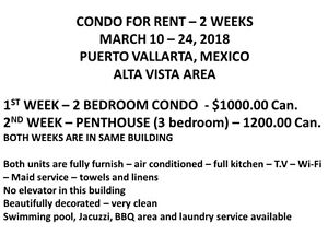 Condo for rent - Puerto Vallarta - Alta Vista Area - 2 Weeks