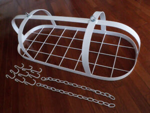LARGE WHITE HANGING METAL POT RACK - for HOME or COTTAGE