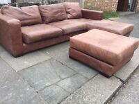 Genuine brown leather corner sofa with foot stool