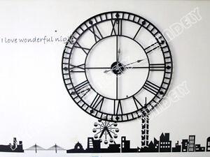 NEW!  Black Huge Wrought Iron Roman Numerals Wall Clock - 80cm