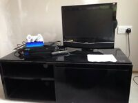 Black gloss IKEA unit with shelving and drawers