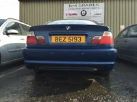 BMW E46 3 SERIES M SPORT COUPE BLUE REAR BUMPER WITH PARKING SENSOR HOLESBREAKING 1 3 5 6 7 SERIES