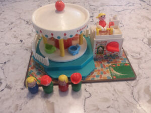 Vintage Fisher Price Little People Play Family Merry Go Round
