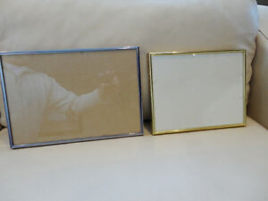 "Two Like New Brushed Metal Picture Frames (8""x10"" &  9""x13"")"