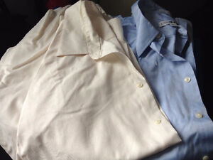 Blue and Off White Men's Cotton No Iron Dress Shirts
