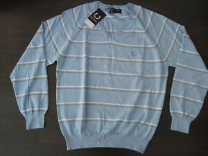 "Fred Perry Blue Striped Knit Vneck Jumper Sweater 106 cm 42"" OBO"