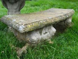 Lion stone style curved bench seat
