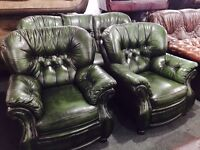 As new green leather chesterfield