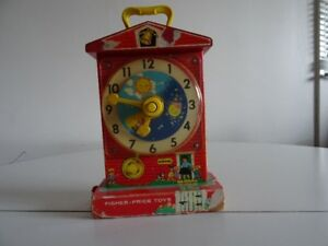 Ancien 1962 Fisher Price Musical Tick Toc Clock wind up 997
