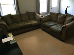 Green Couch and Love Seat