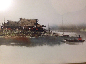 Thai listed artist T. Supsirikool watercolour painting asian