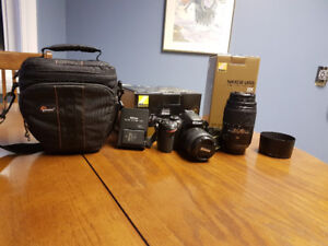 Nikon D3200 Body, 18-55 and 55-300 Lenses, Small Camera Case