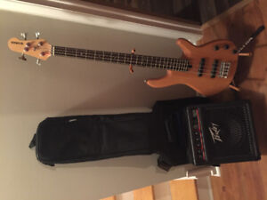 Yamaha electric bass kit with Peavey amp, stand, case and cable