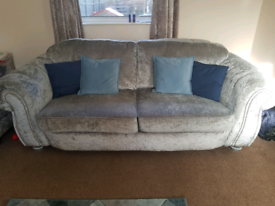 Crushed Velvet Sofa, Swivel Chair and Footstool