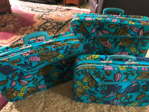 Vintage 70's Soft Sided Luggage 3 Piece Set
