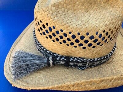Western Decor Cowboy HAT BAND 7 Strand SilverBlack/White Horsehair Single Tassel
