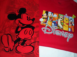 DISNEY CHARACTERS / MICKEY MOUSE T-SHIRTS, LOT OF 2