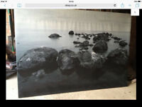 Huge IKEA black and white stones canvas 200cm x 140cm