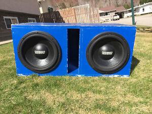 """Two 12"""" Sundown Audio subwoofer setup"""