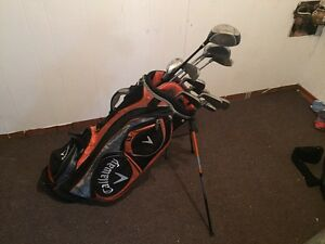 Golf clubs and new bag