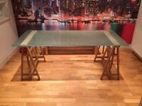 HABITAT TRESTLE GLASS TOP DINING TABLE