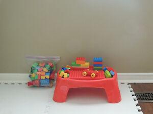 Mega Bloks Building Table+Blocks