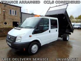 2013 63 FORD TRANSIT CREW CAB TIPPER, DOUBLE CAB, FULL SERVICE HISTORY, 6 SPEED