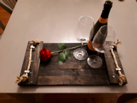 Rustic serving/breakfast tray with rope handles