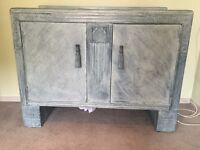 Up-cycled lime-washed cupboard