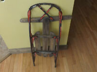 Vintage / antique child wood sled with metal runners.