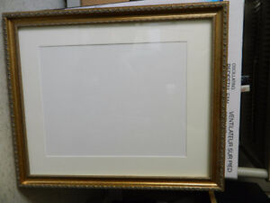 """Gold Wood Picture Frame with off white Conservation Mat 18"""" X 24"""
