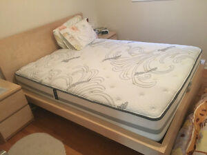 Queen bed and bed set.