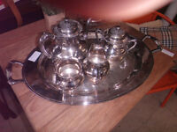 Silver Platter of various Silver pieces D324