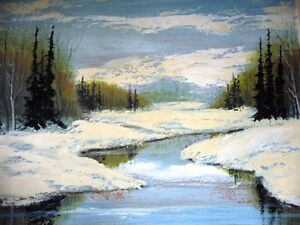 Winter Abstract, by Listed Artist Margrit Gatterbauer 1960's Stratford Kitchener Area image 2