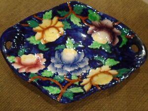 assiette oval porcelaine  Newcastle Tyne England Vivid Florals