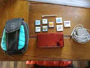 Red 3DS with 8 games, case, charger and 2gb SD card