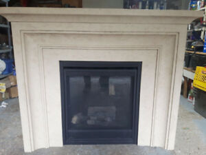 Gas fireplace and mantel