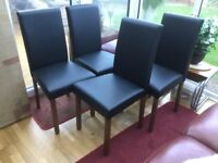 Walnut and Black Faux leather dining chairs *NEW