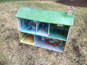 lowest price ANTIQUE VINTAGE TIN METAL DOLL HOUSE