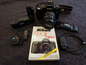 Film based Nikon F90X SLR Camera and accessories