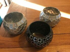 Three Glass Mosaic Tealight Holders - 2 Silver & 1 Black