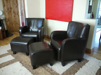 2 Leather arm chairs with ottomans