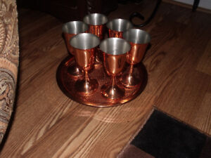copper goblets and various other items